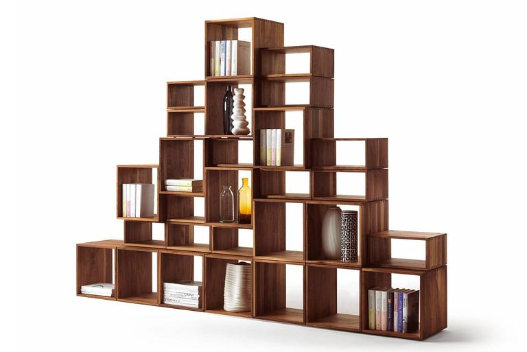 Bookcase Free in Solid Walnut Wood Made with 28 Free Boxes 3