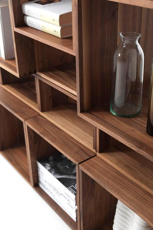 Bookcase Free in Solid Walnut Wood Made with 28 Free Boxes 7
