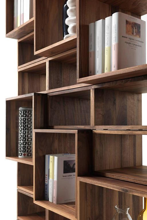 Bookcase Free in Solid Walnut Wood Made with 28 Free Boxes 8