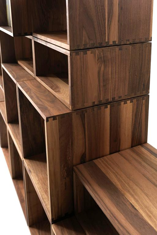 Bookcase Free in Solid Walnut Wood Made with 28 Free Boxes 4