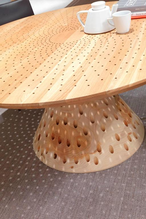 Italian Round Table Holes In Solid Cedar Wood With Oak Table Top For Sale