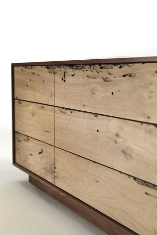 Sideboard Brico Wood Lowboard in Massive Natural Walnut with Six Drawers In Excellent Condition For Sale In Paris, FR