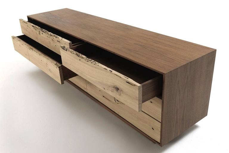Sideboard Brico Wood Lowboard in Massive Natural Walnut with Six Drawers For Sale 1