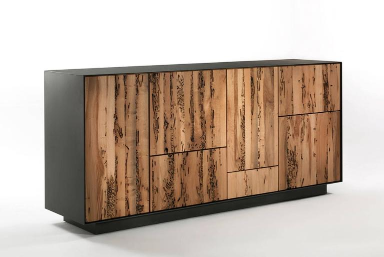 Sideboard modular in massive natural walnut with five doors and four drawers and push-pull opening system. External metal frame thickness 3 mm. Price indicated with base in iron with mat transparent  finish -FNT, price: 1460,00€. Base available in