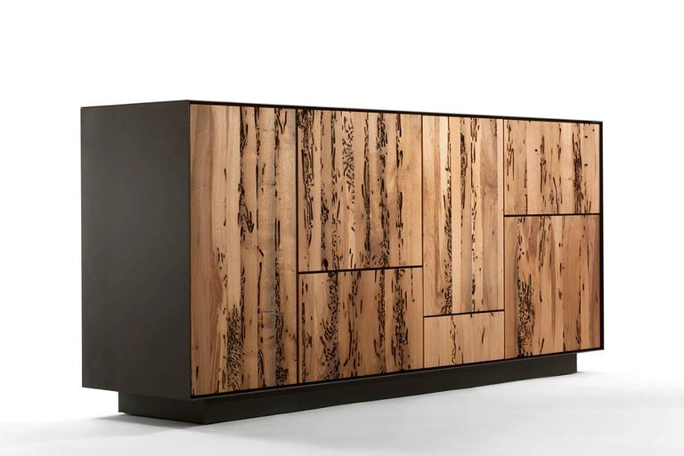 Italian Sideboard Modular in Massive Natural Walnut  with Five Doors and Four Drawers For Sale