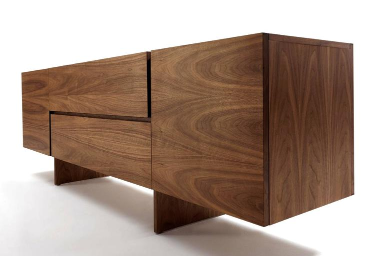 Contemporary Sideboard Multilayer in Walnut with Two Central Drawers and Two Side Door For Sale