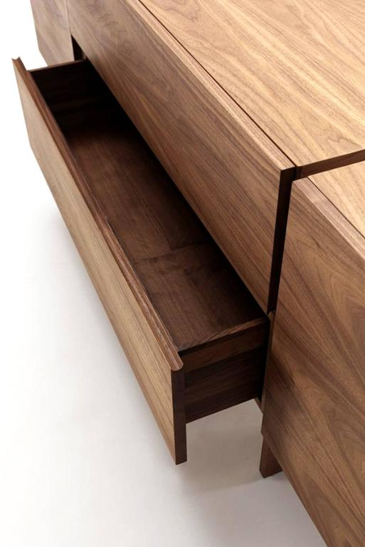 Wood Sideboard Multilayer in Walnut with Two Central Drawers and Two Side Door For Sale
