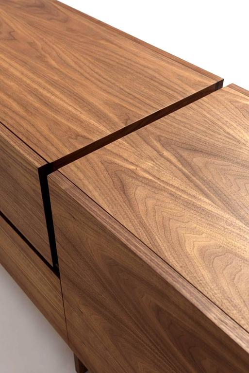 Sideboard Multilayer in Walnut with Two Central Drawers and Two Side Door For Sale 1
