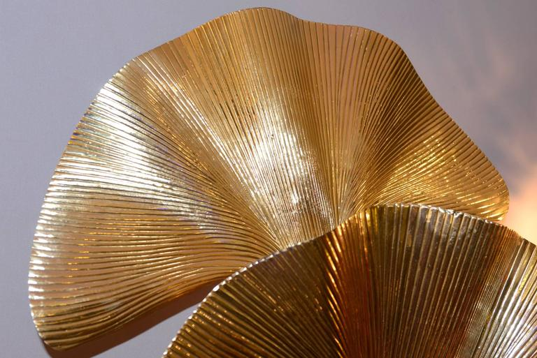 Ginko Biloba Floor Lamp in Polished Brass In Excellent Condition For Sale In Paris, FR