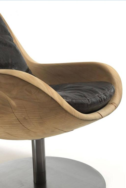 Desk Armchair in Natural Solid Cedar Wood on Rotative Metal Base In Excellent Condition For Sale In Paris, FR