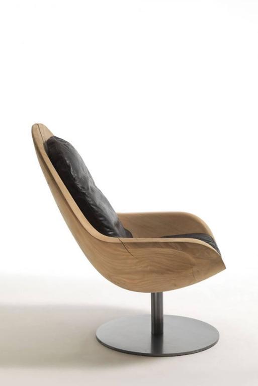 Italian Desk Armchair in Natural Solid Cedar Wood on Rotative Metal Base For Sale