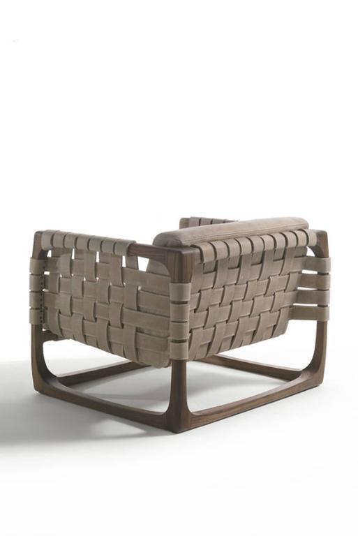 Italian Webbing Armchair Padded Seat in Nubuck Leather in solid walnut For Sale