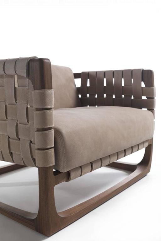 Webbing Armchair Padded Seat in Nubuck Leather in solid walnut In Excellent Condition For Sale In Paris, FR