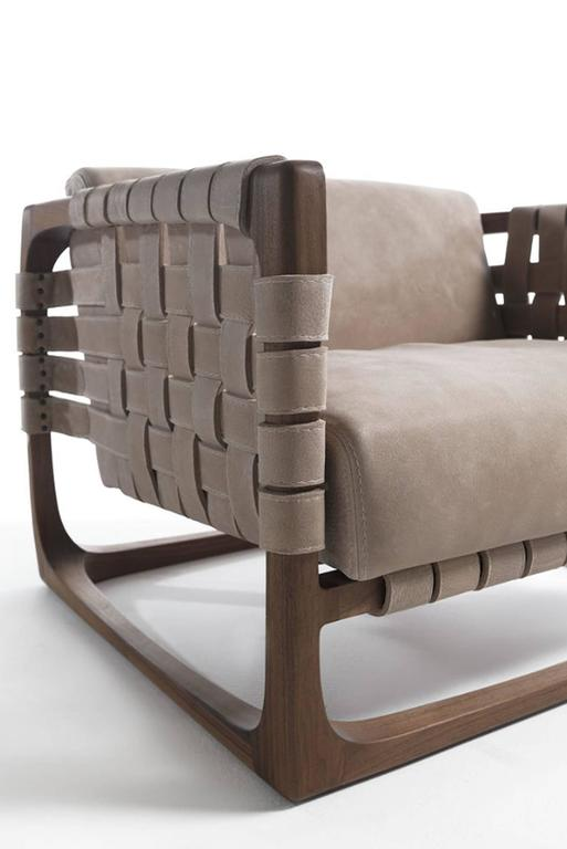 Webbing Armchair Padded Seat In Nubuck Leather And Frame