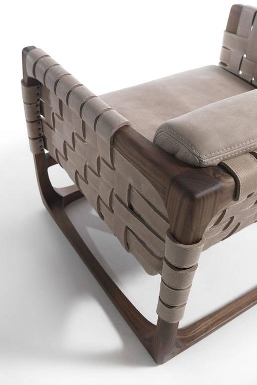 Webbing Armchair Padded Seat in Nubuck Leather in solid walnut For Sale 2