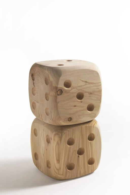 Italian Dice Stool in Natural Solid Cedar Wood For Sale