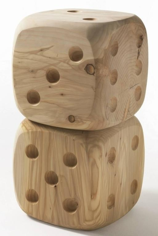 Polished Dice Stool in Natural Solid Cedar Wood For Sale
