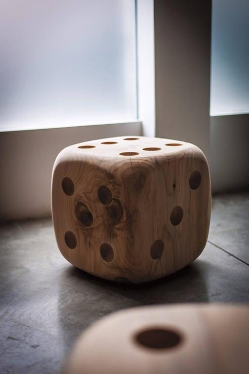 Stool dice in natural solid cedar wood,  price: 1600,00€ available in big, L 35 x D 35 x H 71,5cm,  price: 2800,00€. Wood treated with natural pine extracts wax. Solid cedar wood include movement,  cracks and changes in wood conditions,  this is the