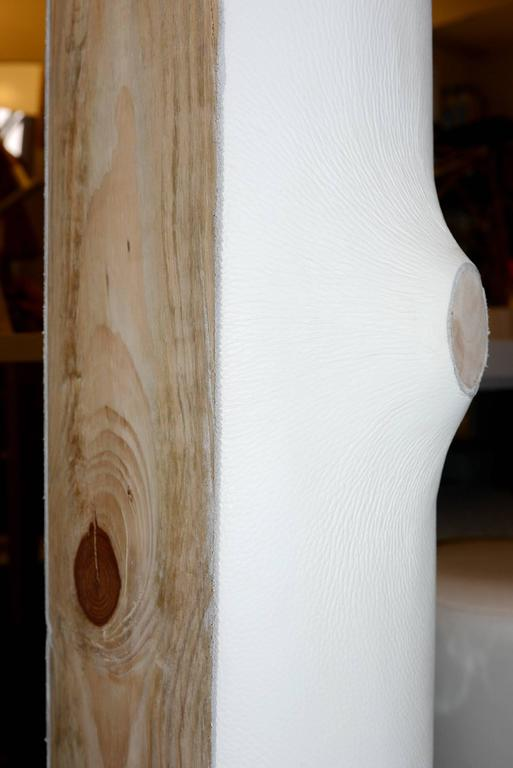White Leather Trunk Floor Lamp For Sale 1