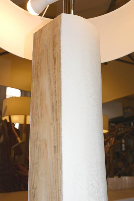 English White Leather Trunk Floor Lamp For Sale
