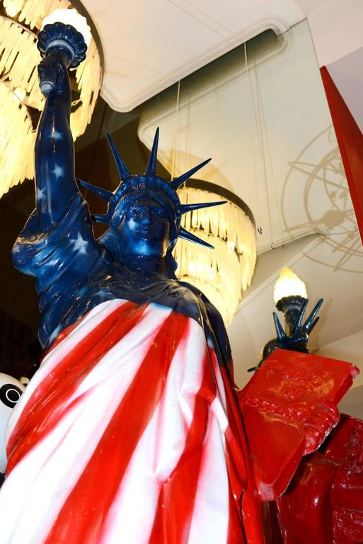 Contemporary Liberty Statue United States Flag Sculpture For Sale