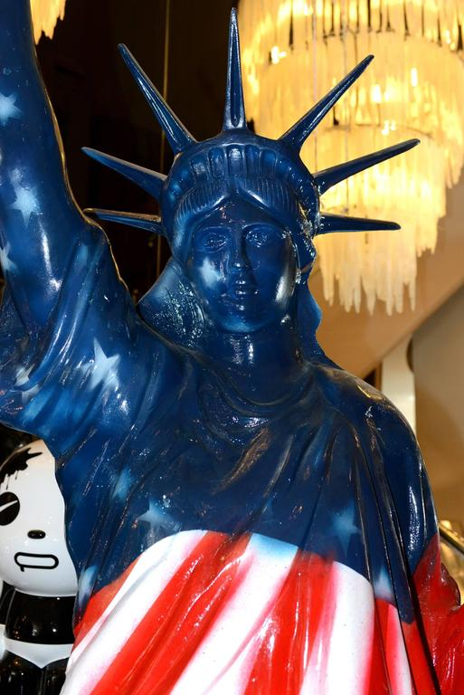 French Liberty Statue United States Flag Sculpture For Sale