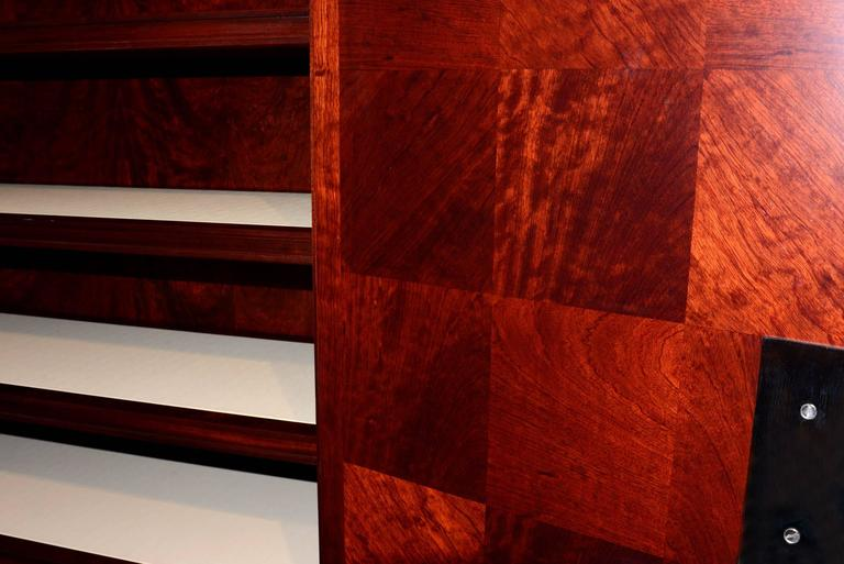 Cabinet Royal Set of Two in Solid Mahogany and Red Genuine Sharkskin For Sale 5