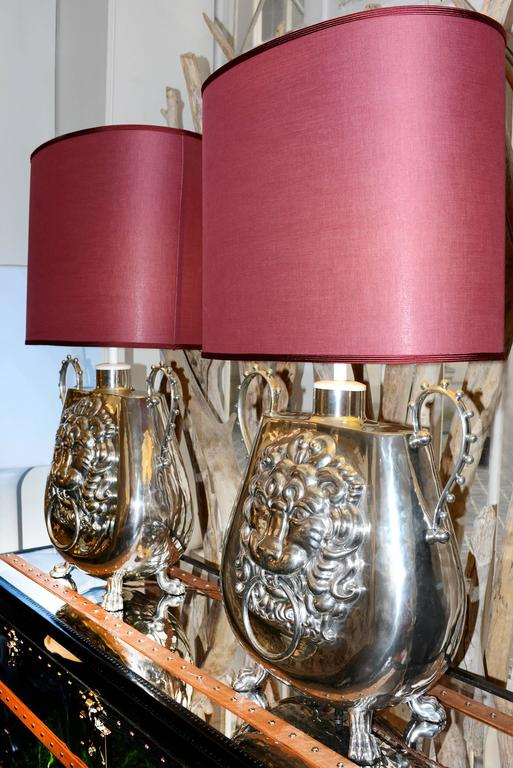 French Set of Two Vase Lamp with Lion Head For Sale
