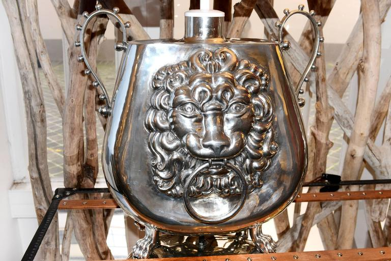 Contemporary Set of Two Vase Lamp with Lion Head For Sale