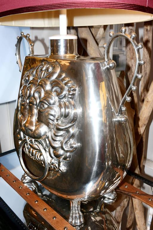 Set of Two Vase Lamp with Lion Head For Sale 1