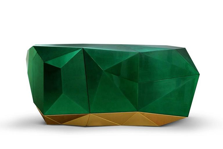 Portuguese Jade Sideboard Translucent Green with High Gloss Varnish For Sale