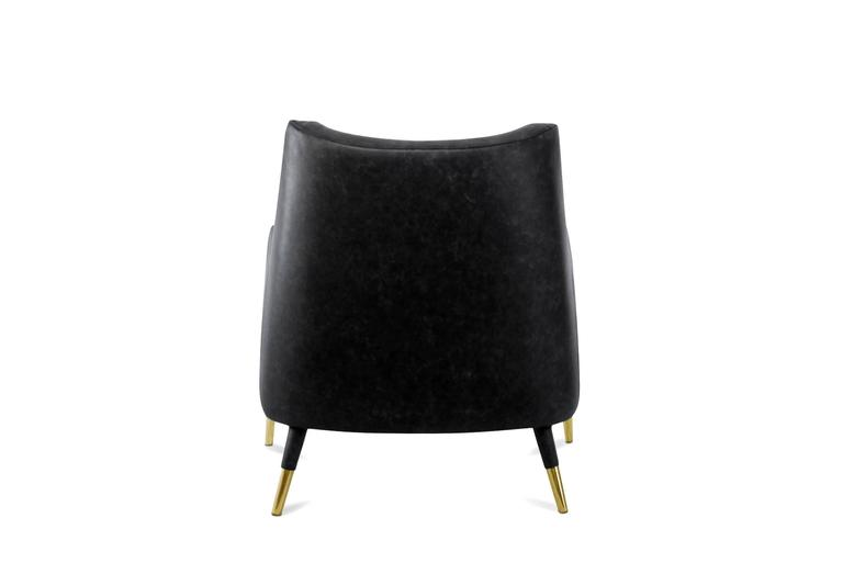 Black Lounge Armchair Brass and Fabric In New Condition For Sale In Paris, FR