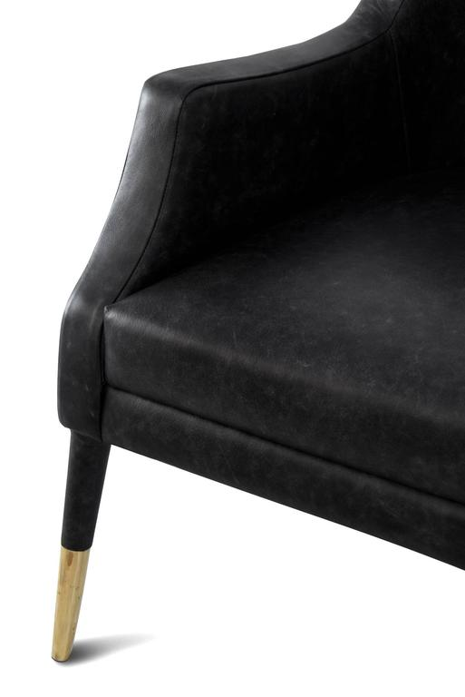 Black Lounge Armchair Brass and Fabric For Sale 2