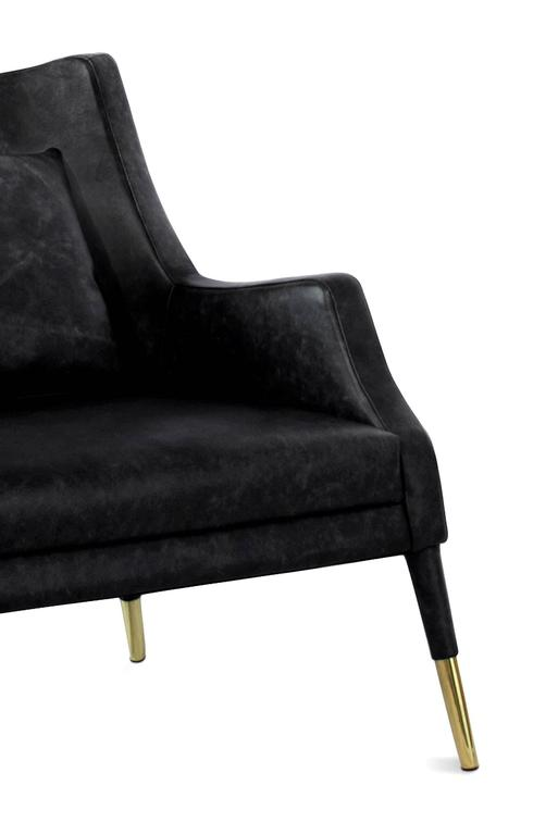 Black Lounge Armchair Brass and Fabric For Sale 1