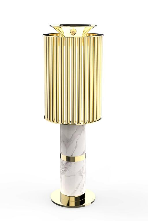 Excellence Table Lamp, Brass and Estremoz Marble For Sale 3
