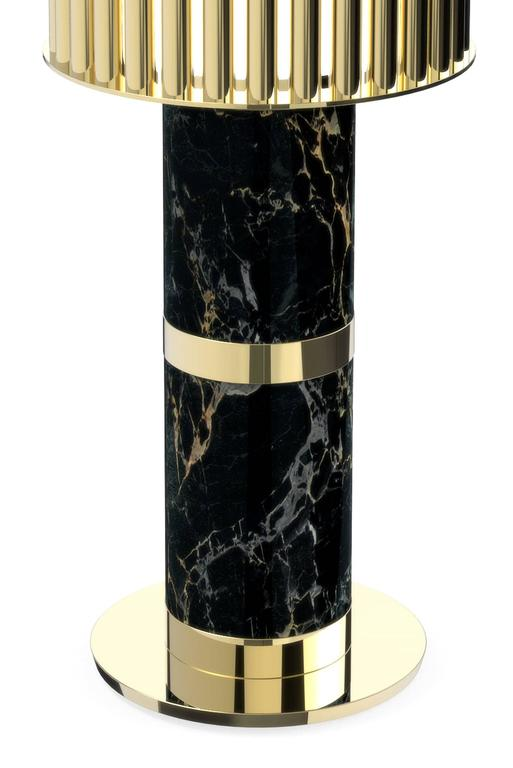 Portuguese Excellence Table Lamp, Brass and Estremoz Marble For Sale