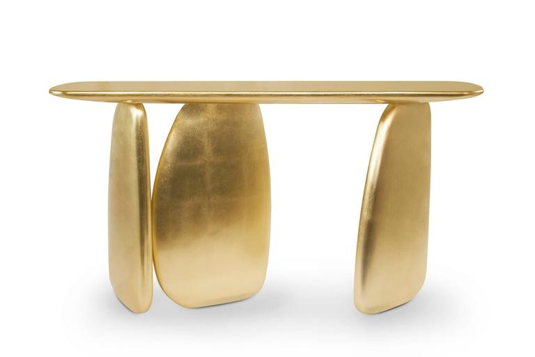 Gold Pebble Console with Gold Leaf 4