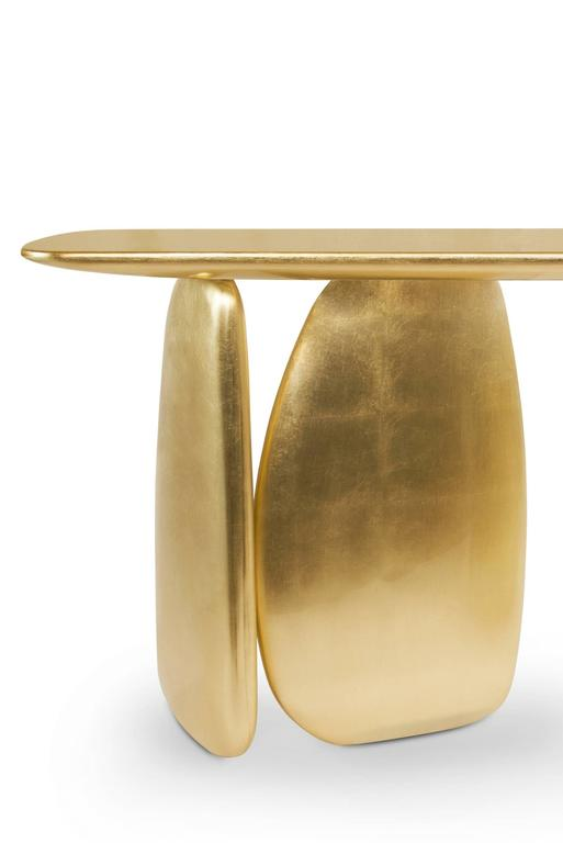 Gold Pebble Console with Gold Leaf 5