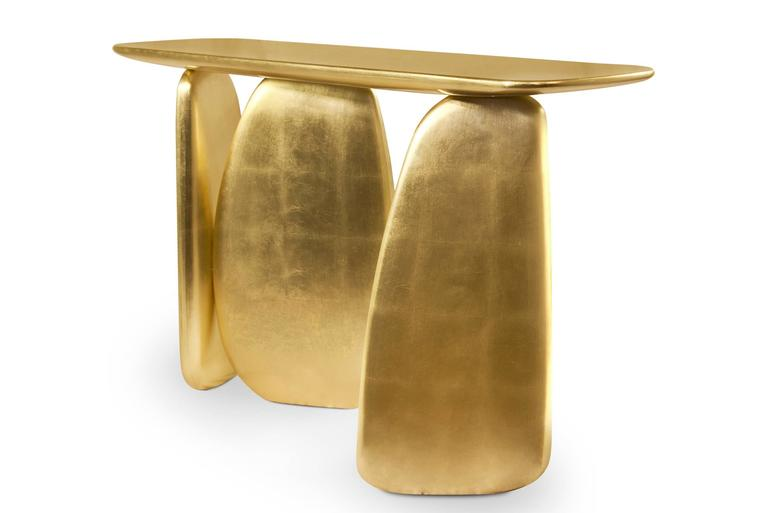 Gold Pebble Console with Gold Leaf 7