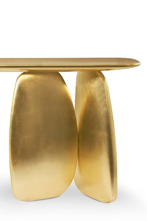 Gold Pebble Console with Gold Leaf 3
