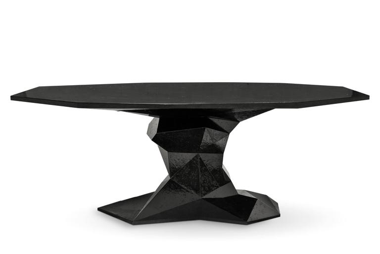 Jungle Dinning Table Lacquered Wood Exceptional Piece For Sale 4