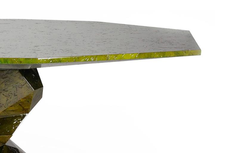 Jungle Green Dinning Table Lacquered Wood Exceptional Piece In New Condition For Sale In Paris, FR