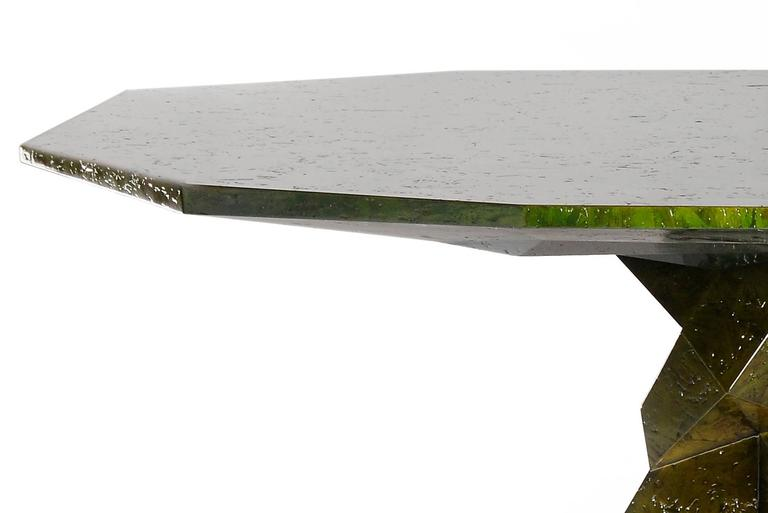 Dining Table Jungle Green with wood structure lacquered  with a translucent rainforest tone with high gloss varnish. Exceptional piece. Available in all black finish.