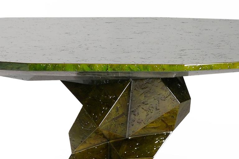 Portuguese Jungle Green Dinning Table Lacquered Wood Exceptional Piece For Sale
