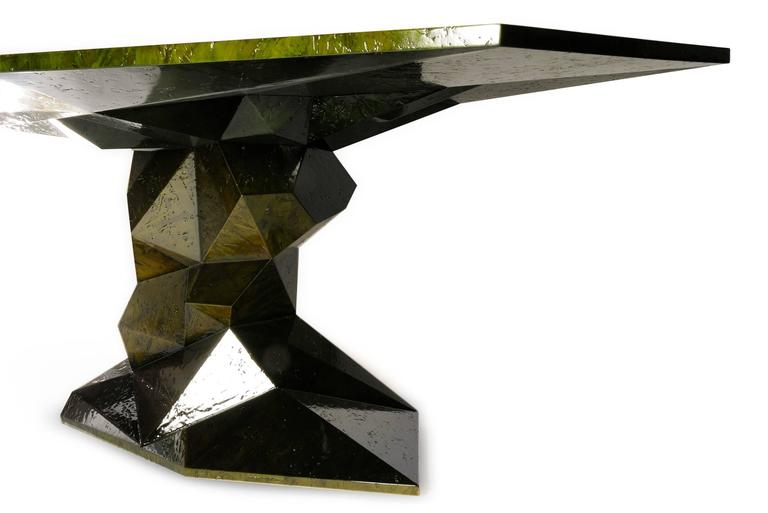 Contemporary Jungle Green Dinning Table Lacquered Wood Exceptional Piece For Sale