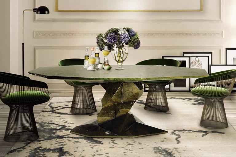 Jungle Green Dinning Table Lacquered Wood Exceptional Piece For Sale 3