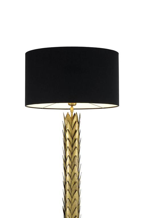 Table lamp palms in vintage brass finish