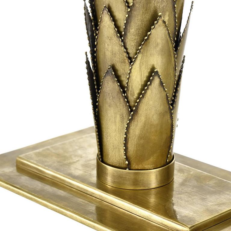 Palms Table Lamp Brass and Black Lampshade In New Condition For Sale In Paris, FR