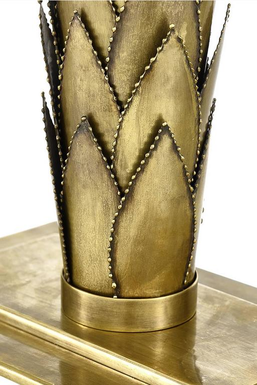 Hand-Crafted Palms Table Lamp Brass and Black Lampshade For Sale