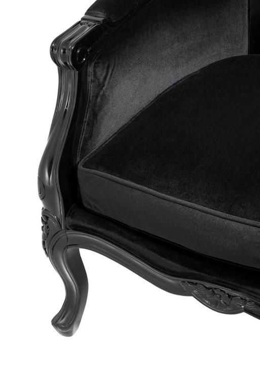 Buckingham Armchair in Black Velvet In Excellent Condition For Sale In Paris, FR